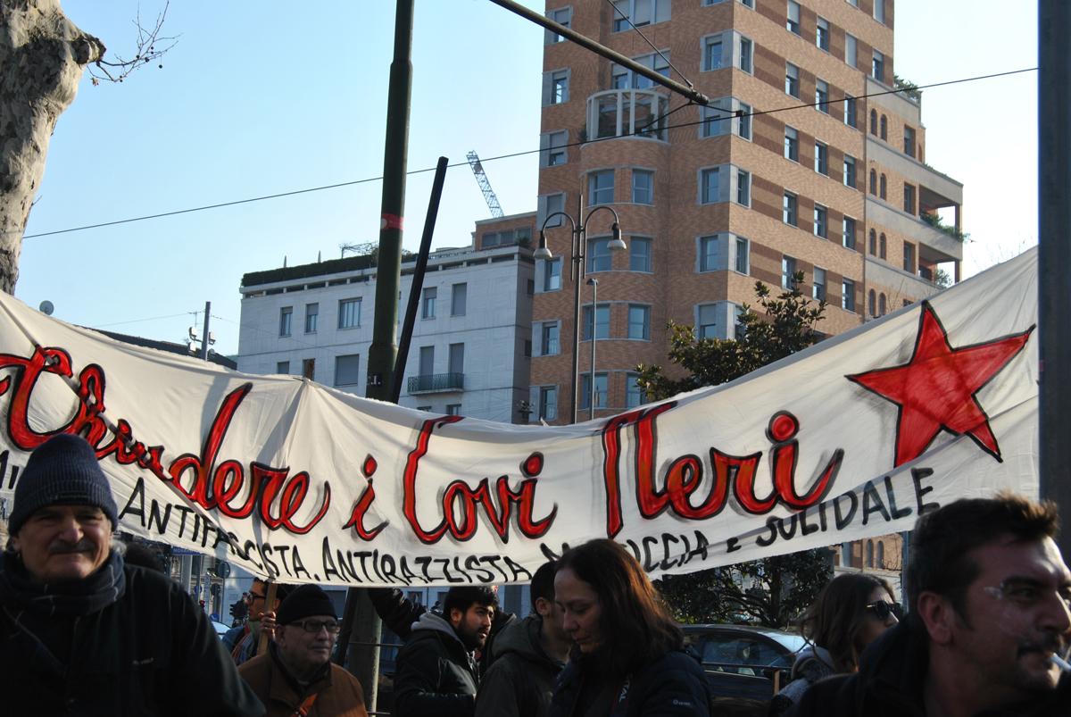Milano febbraio un corteo spontaneo contro fascismo e