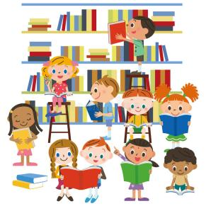 children-reading-book-library-looking-41465116